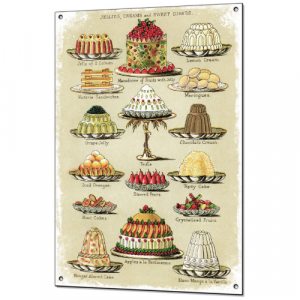 PLAQUE VINTAGE MENU GATEAU