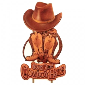 panneau déco metal veilli cowboy