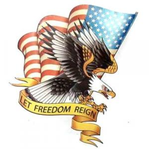 plaque metal vintage découpée aigle américain