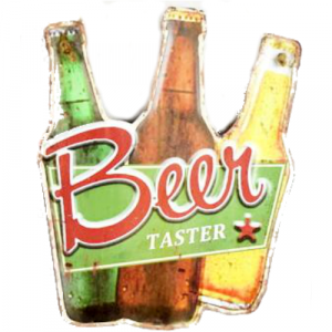 plaque metal vintage découpée bière