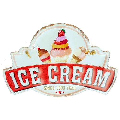 plaque metal vintage découpée ice cream