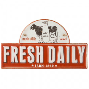 plaque metal vintage decoupée lait frais