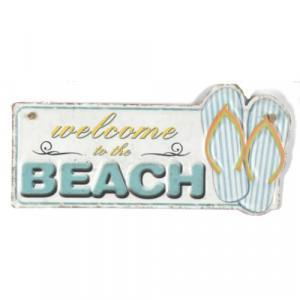 plaque metal vintage welcome beach