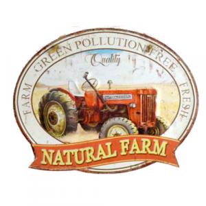 plaque metal vintage decoupée tracteur