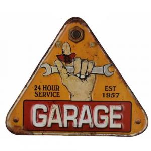 plaque metal vintage traingle decoupée garage