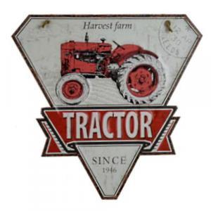 plaque metal vintage decoupée triangle tracteur